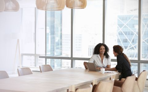 Two women working in modern office well lit by natural light