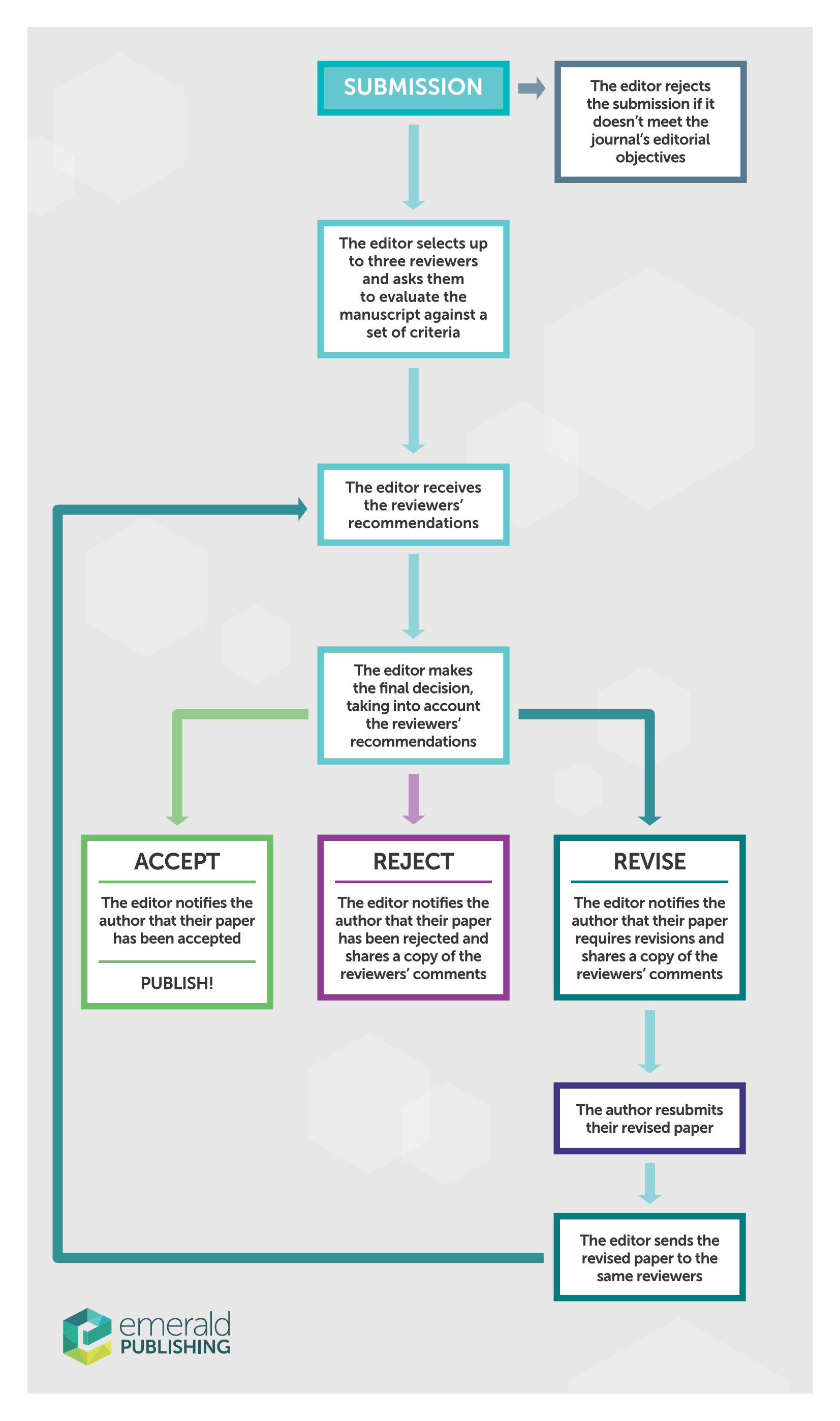 Infographic showing peer review process