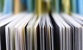 Shallow depth of field shot of series of pages from a journal or book