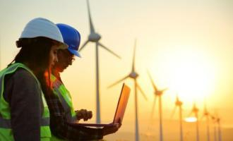 Man and woman wearing hard hats on solar wind farm site